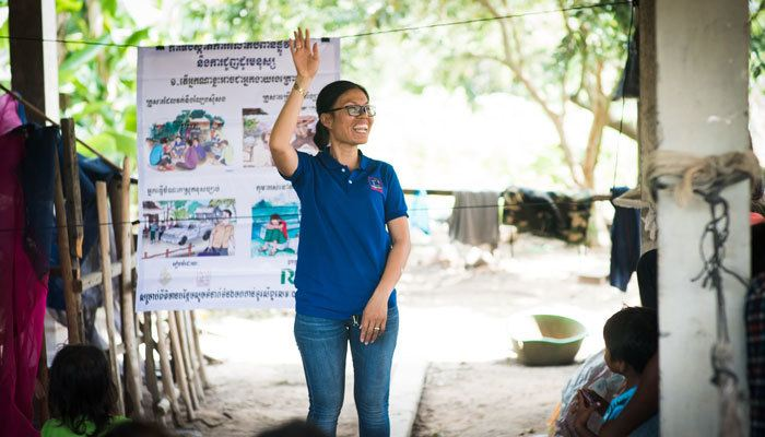 An instructor, from the Chab Dai Coalition, raising awareness about the realities of human trafficking