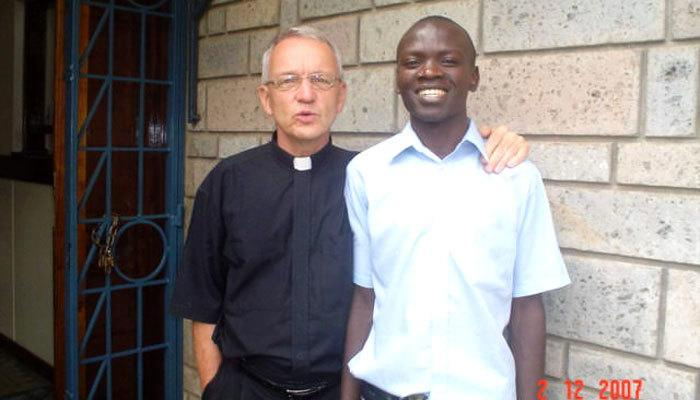 Maryknoll Missioner Father Lance Nadeu with seminarian John Siyumbu of Kenya.